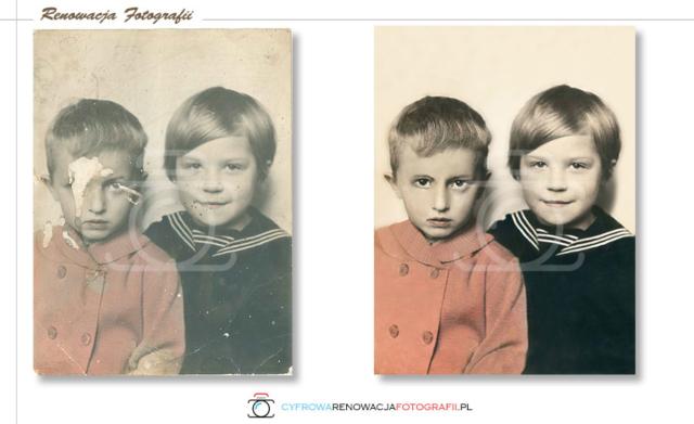 Renowacja starych zdjęć naprawa ubytków twarzy - Cyfrowa Renowacja Fotografii