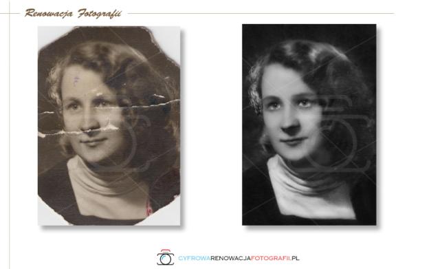 Renowacja portretu. Usunięcie uszkodzeń, wyostrzenie, kontrast.