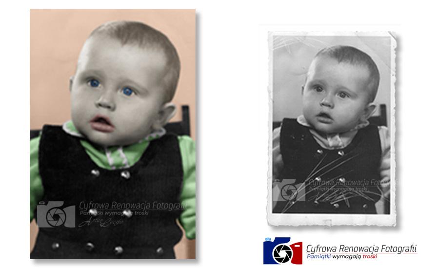 Naprawa i kolorowanie portretu dziecka - rok 1973, XX w.