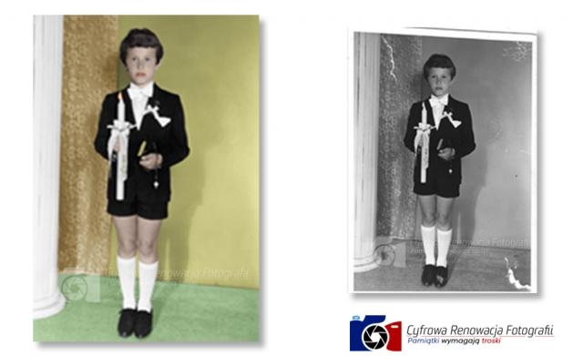 Naprawa i kolorowanie portretu lata 80-te XX w.
