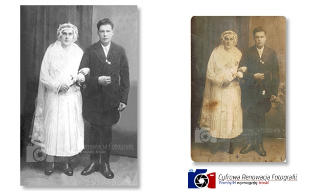 Portret ślubny XIX w. - profesjonalna renowacja