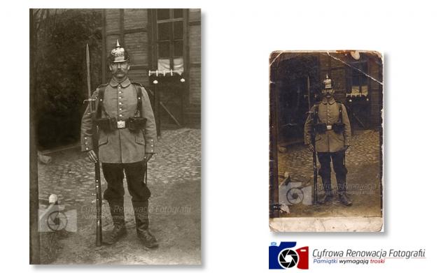 Renowacja portretu żołnierza pruskiego XIX w. - Cyfrowa Renowacja Fotografii