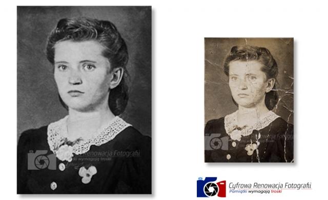 Odnowiony portret kobiety - renowacja zdjęć