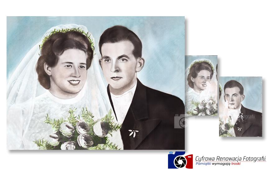 Rekonstrukcja portretu ślubnego XX w.