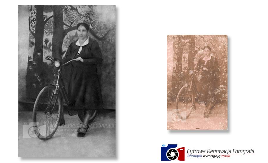 Kobieta z rowerem XIX w. - rekonstrukcja zdjęcia