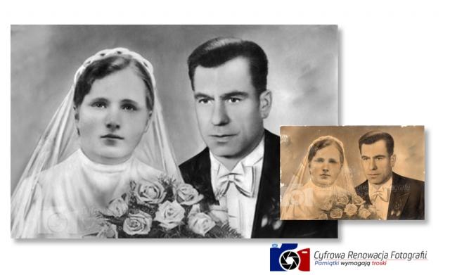 Renowacja fotografii - zdjęcie ślubne - XX w.