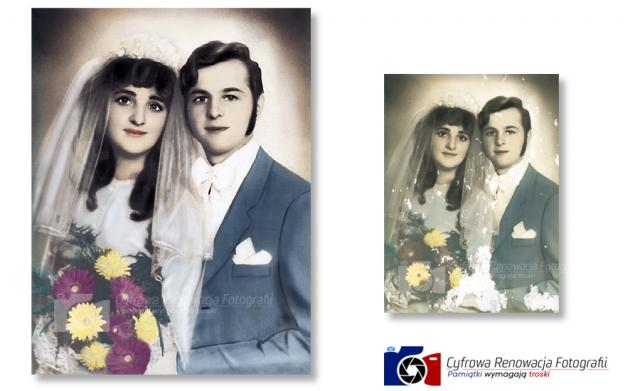 Odnowiony portret ślubny - profesjonalna renowacja fotografii