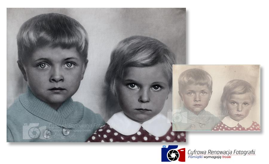 Portret dzieci - renowacja fotografii