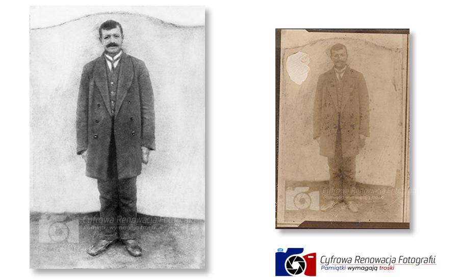 Cyfrowa Renowacja Fotografii - Portret mężczyzny początek XXw