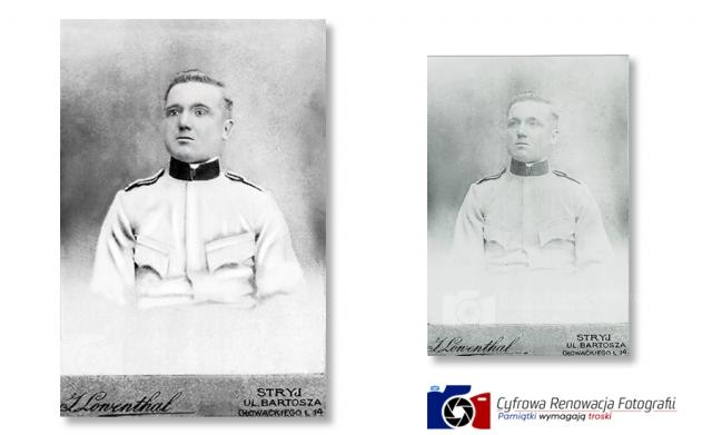 Renowacja portretu żołnierza przełom XVIII i XIXw - Cyfrowa Renowacja Fotografii