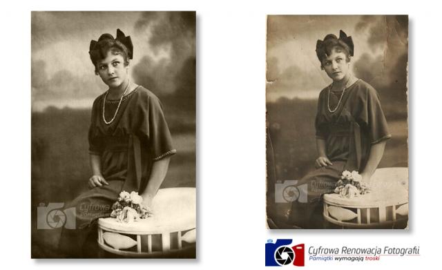 Renowacja  portretu rok 1920 - Cyfrowa Renowacja Fotografii